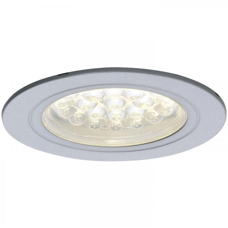 LED-vestavné svítidlo Sirio IP44, 1,65 Watt, teplá bílá, ø 68 mm, barva hliníku