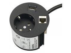 Síťová/datová zásuvka Point 230 V,1 Schuko zástrčka,1 datový vstup, 1 USB Elektro - Světelný desing a technika - Zásuvkové prvky