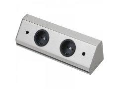 Zásuvková lišta Corner Compact 230 V, max.3500 Watt, 410 mm, nerez efekt Elektro - Světelný desing a technika - Zásuvkové prvky