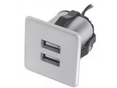USB nabíječka k zabudování 2xUSB TYP-A 5V max. 2x1,5A, stříbrná Elektro - Světelný desing a technika - Zásuvkové prvky