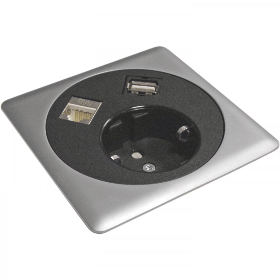 Box na zásuvky/datový box Netbox Point 230 V, česká norma, černý - Zásuvkové prvky Česká norma