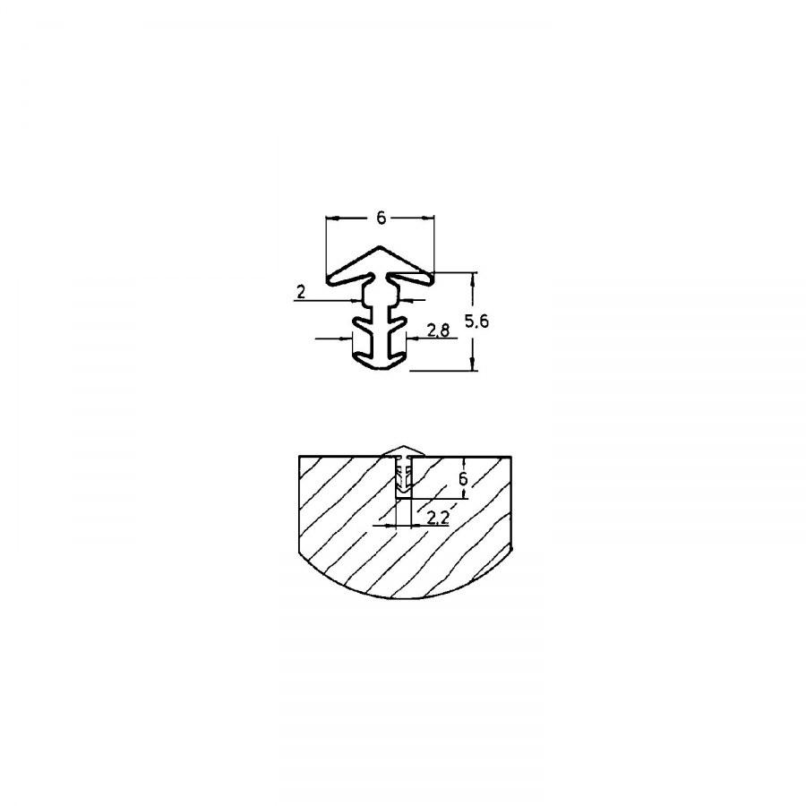 Dorazové těsnění dveří P9003, měkká guma bílá - Tlumící prvky a těsnící profily