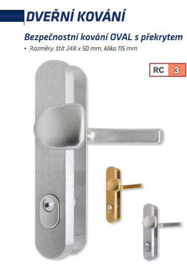 Bezpečnostní kování OVAL s překrytem rozteč 72mm - Bezpečnostní kování Richter