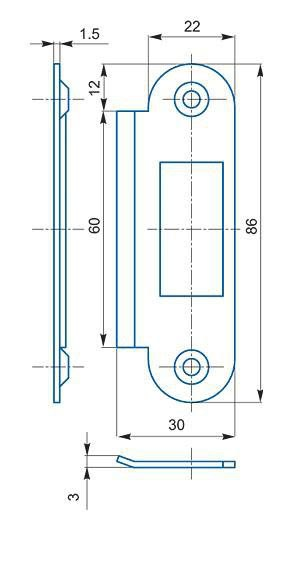 Zapadací plech rovný K 185 - Protiplechy k zadlabávacím zámkům