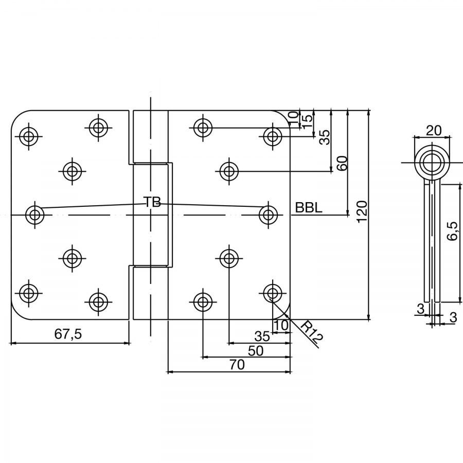 Závěs k našroubování s odnímatelným čepem B 3027, 120 x 160 mm, nerez - Dveřní závěsy k našroubování