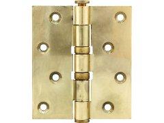 Závěs pro bezfalcové dveře, 101,6 x 76 x 3,0 mm, ocel pomosazená leštěná DVEŘE - Panty, Dveřní závěsy - Dveřní závěsy k našroubování