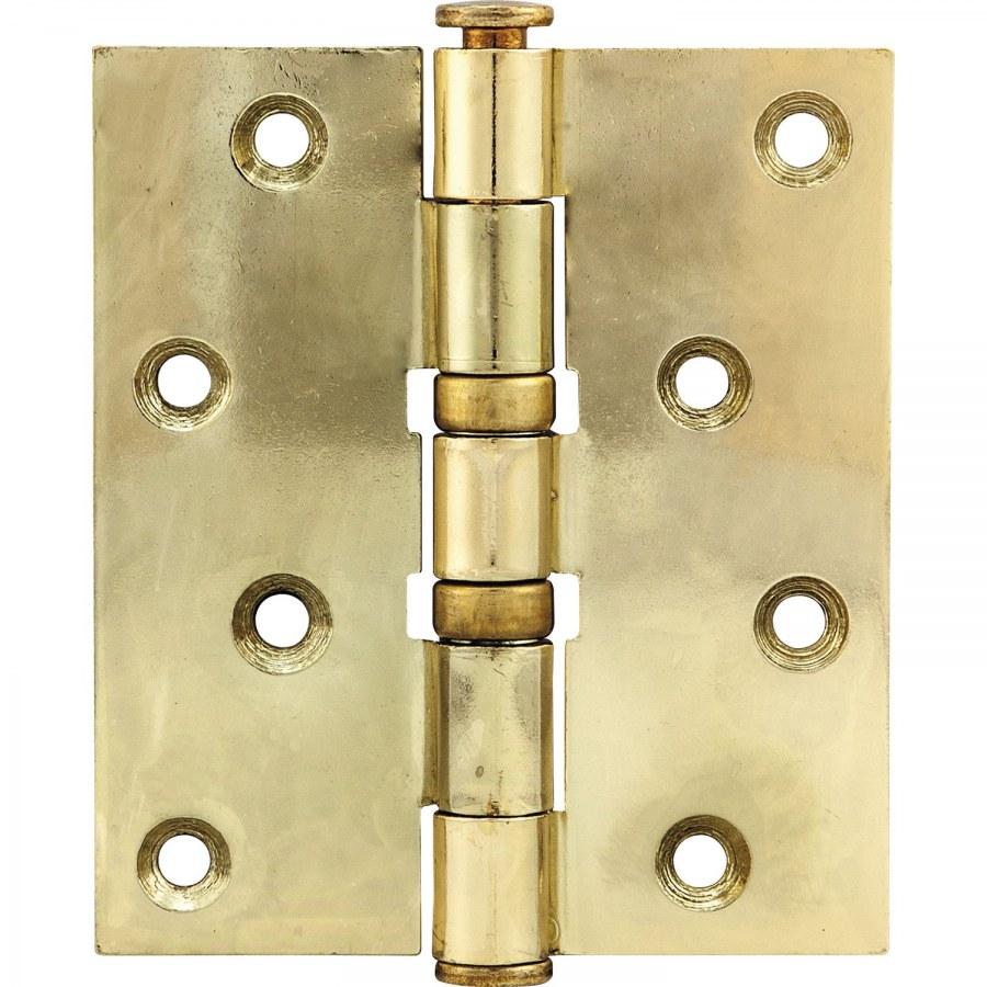 Závěs pro bezfalcové dveře, 101,6 x 76 x 3,0 mm, ocel pomosazená leštěná - Dveřní závěsy k našroubování
