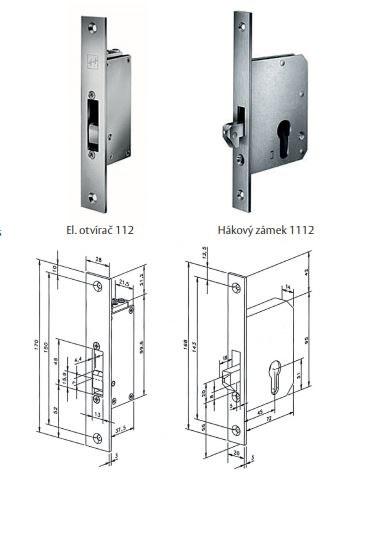 zámek EFFEFF 1112-00 hákový pro 112 - Pro skleněné dveře/pro posuvné dveře