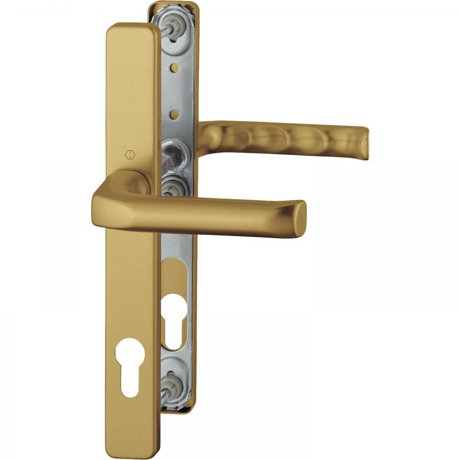 Kování klika /klika LONDON úzký štítek PZ 92mm, 67-72, F4 bronz - Bezpečnostní Kování Hoppe úzký štít