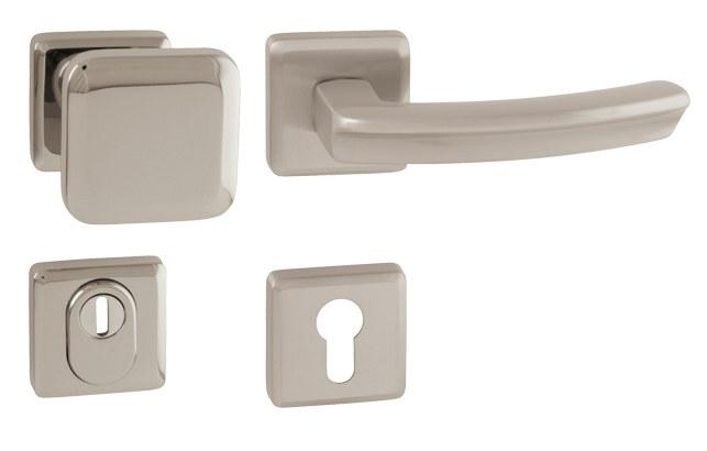 Rozetové kování klika MI - QB SECUR / ARTE - HR- Nikl broušený - Bezpečnostní rozetové kování MP