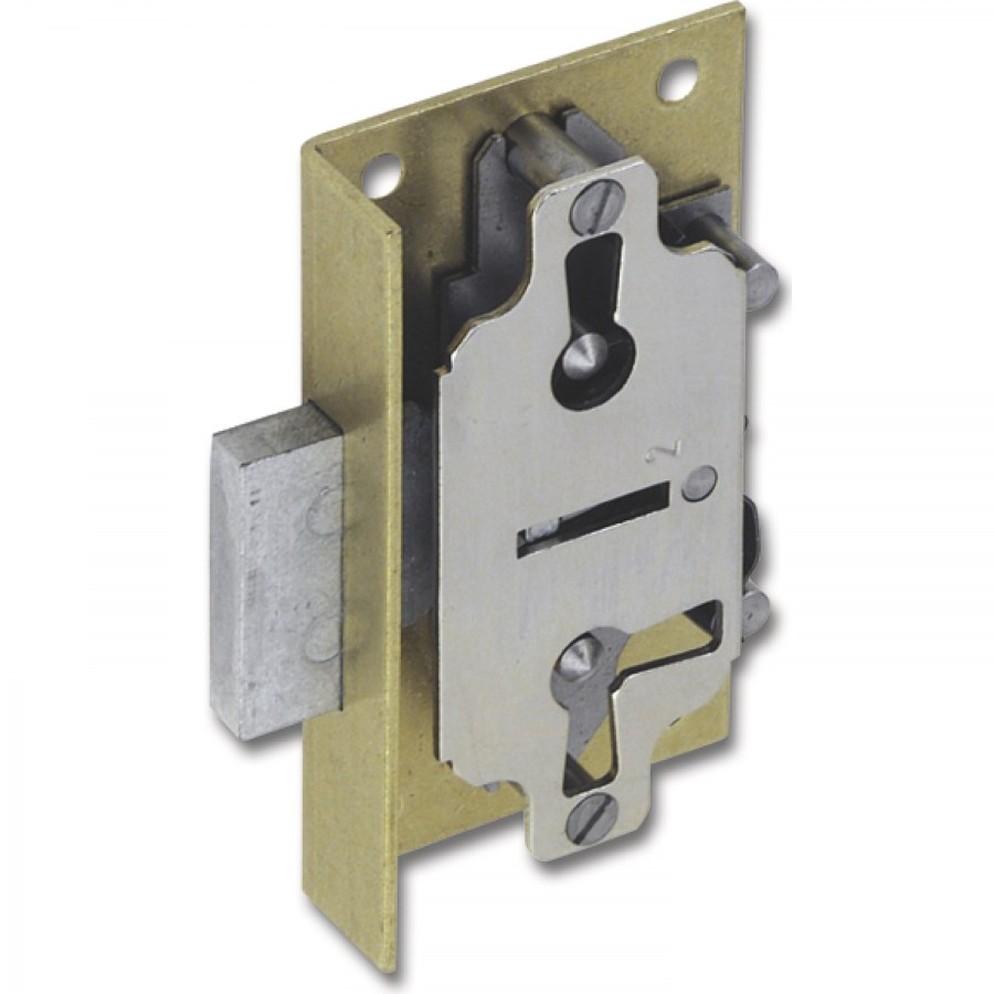 Dozický kazetový zámek 619, DM 30 mm, zadní plech z mosazi - Dózické nábytkové zámky,