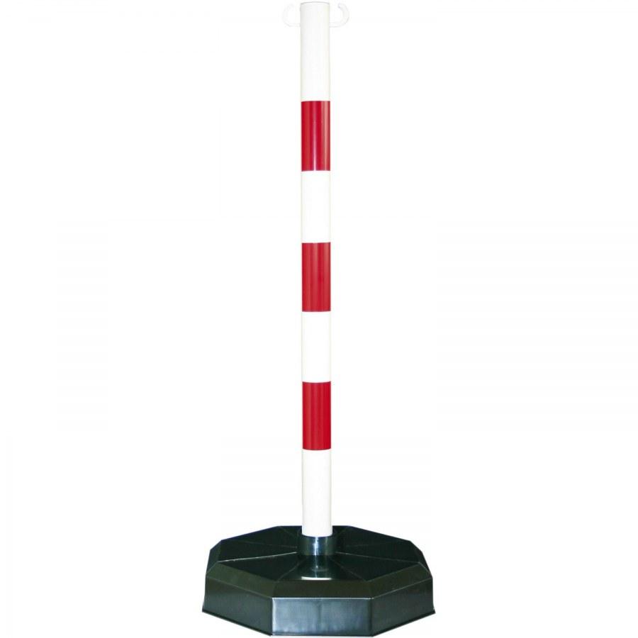 Mobilní plastový sloupek, bílá / červená 1,2kg, základna 380x380mm - Parkovací sloupky
