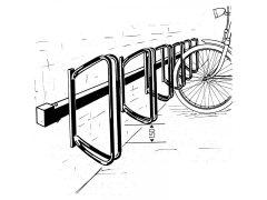 Stojan na jízdní kola (řadový) Hagen 45°, 7 pozic, na stěnu, žárový pozink Skladová technika - Stojany na kola