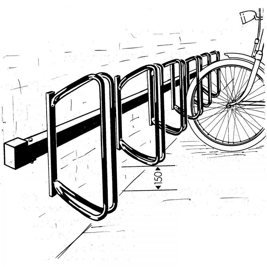 Stojan na jízdní kola (řadový) Hagen 45°, 7 pozic, na stěnu, žárový pozink