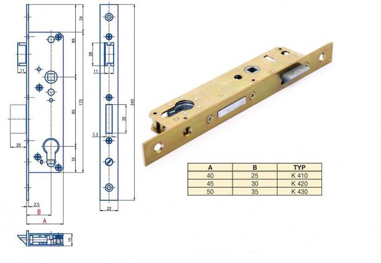 Zámek Hobes K 420 se zádlabem 40-50 mm - Zadlabávací zámky speciální provedení